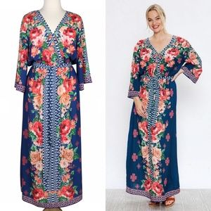 In Bloom 1X Blue Red Rose Ikat Boho Maxi Dress
